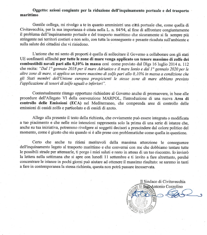 The Mayor Of Civitavecchia Invites The Government And The Mayors Of Other Port Cities To Intervene For Limiting Atmospheric Emissions