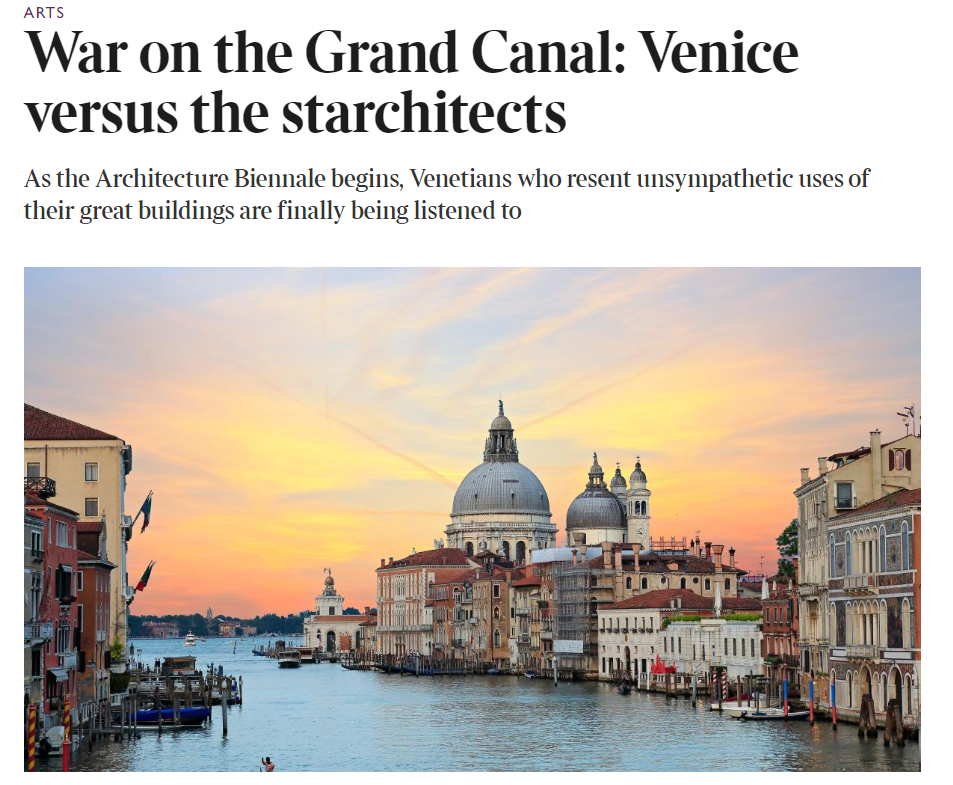 The Times, 21.05.2018: War On The Grand Canal: Venice Versus The Starchitects