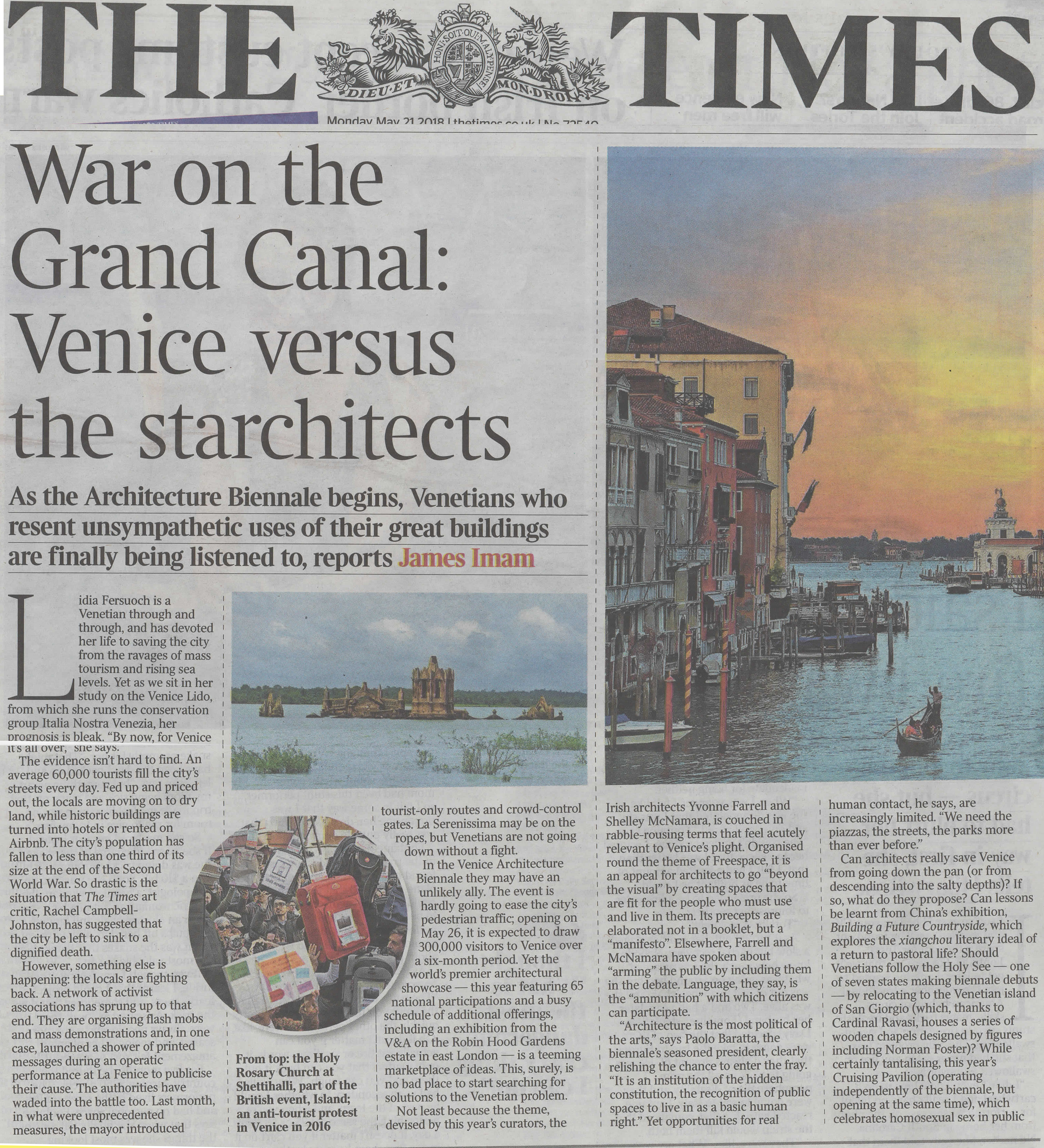 The Times 21.5.2018 WahV And Laguna Viva In The Coverage Of The Biennale