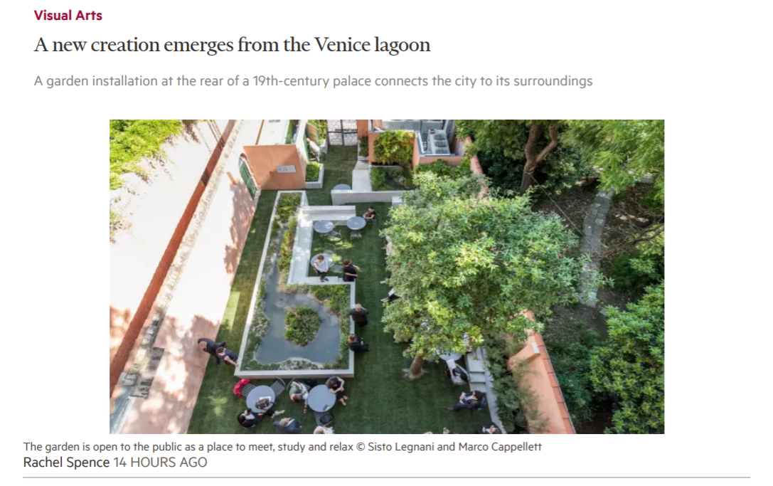 The Financial Times, 04.08.18: A New Creation Emerges From The Venice Lagoon