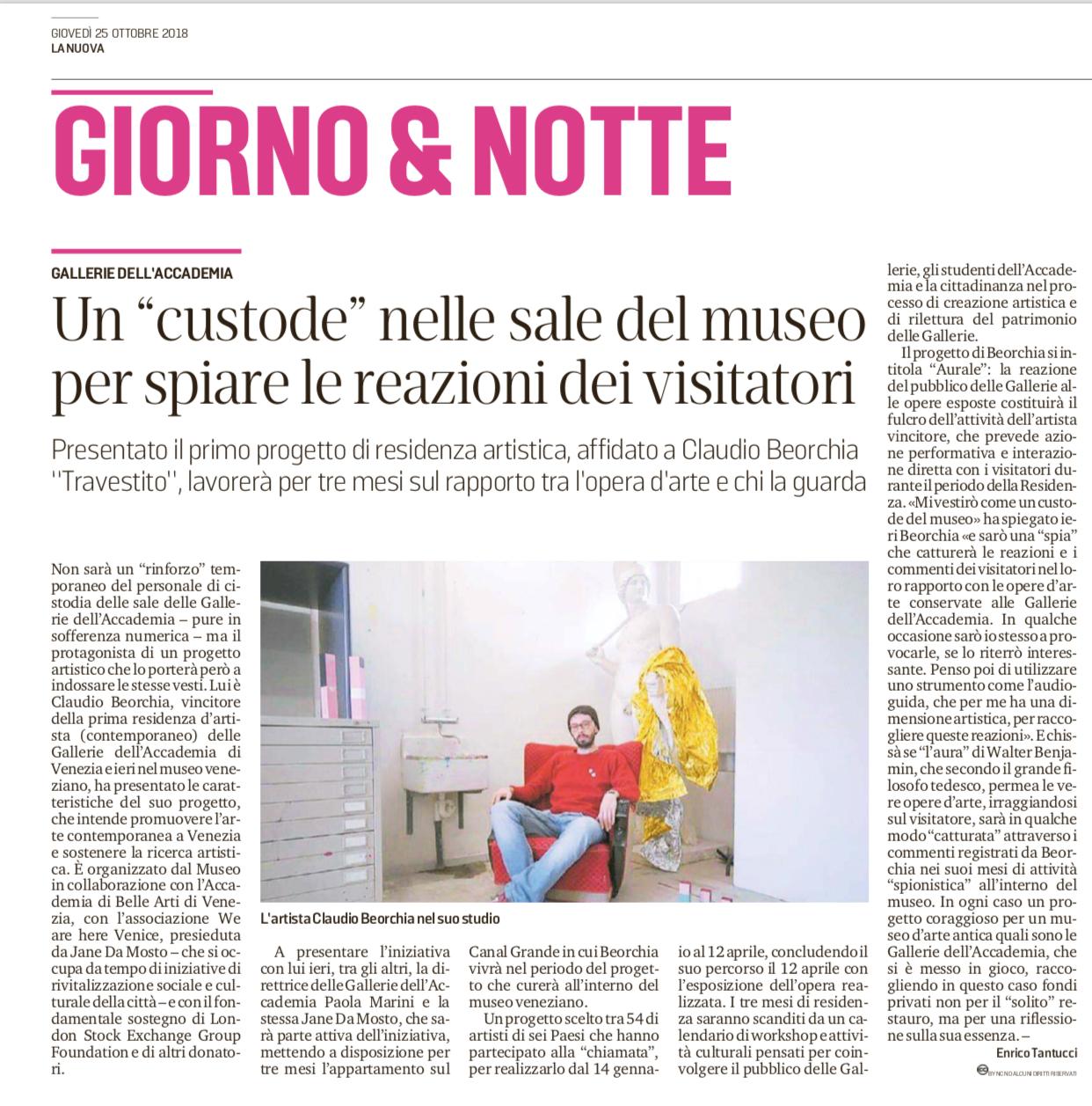 """La Nuova Venezia 25.10.2018 Un """"custode"""" Nelle Sale Del Museo Per Spiare Le Reazioni Dei Visitatori"""
