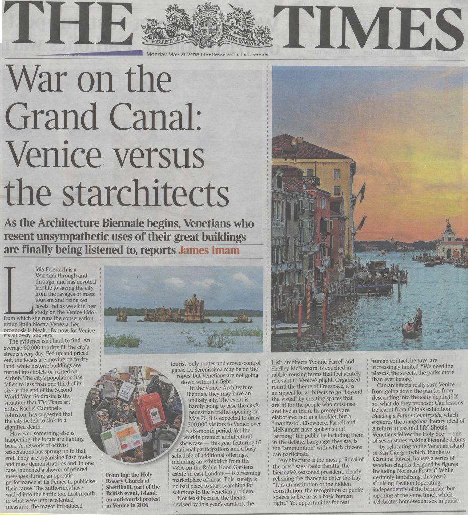 The Times 21.5.2018 WahV E Laguna Viva Nell'articolo Sulla Biennale