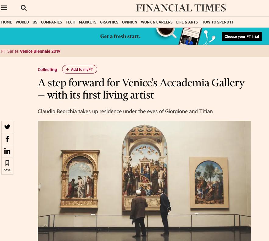 Financial Times 03.05.2019 Un Passo Avanti Per L'Accademia Di Venezia — Con Il Suo Primo Artista Vivente
