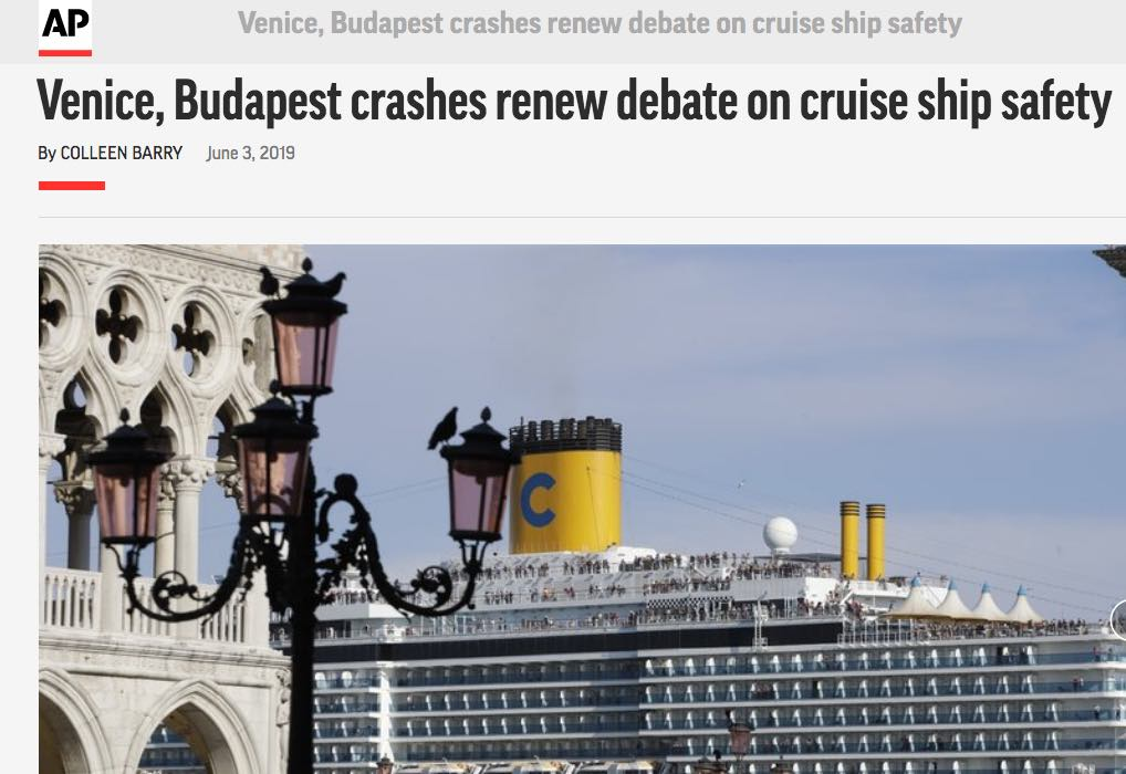 Associated Press 03.06.2019 Venice, Budapest Crashes Renew Debate On Cruise Ship Safety