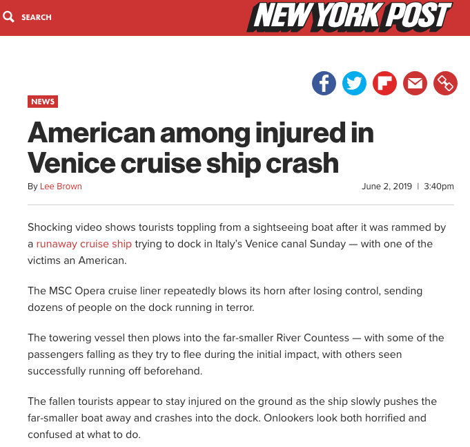 New York Post 02.06.2019 American Among Injured In Venice Cruise Ship Crash