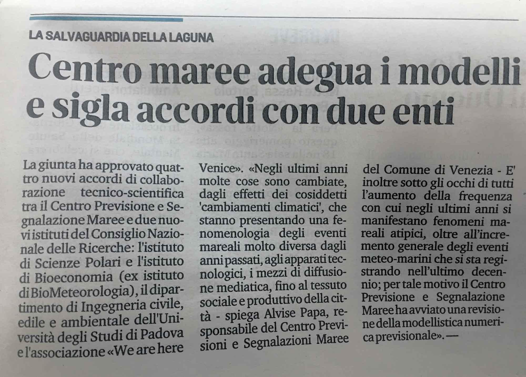 La Nuova Venezia 07.10.19 Centro Maree Adegua I Modelli E Sigla Accordi Con Due Enti