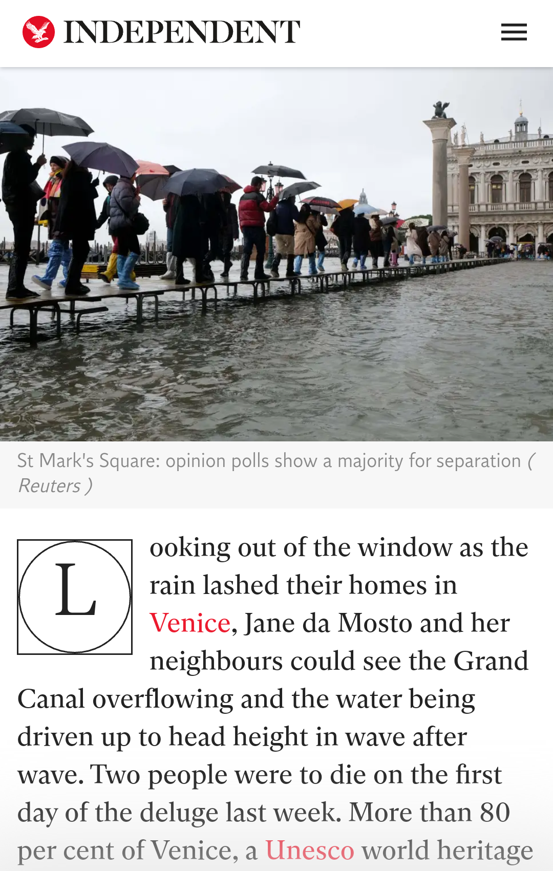 The Independent 22.11.2019: 'Fears For Venice Run Far Deeper Than The Flood Waters' And Further Coverage Of Ongoing Flooding