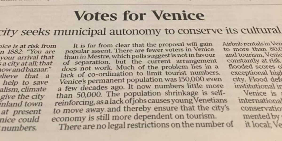 "The Times 05.11.2019: ""Venetians Win Right To Vote On Autonomy From The Mainland"""