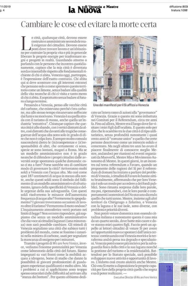 La Nuova Venezia 01.12.2019: Cambiare Le Cose Ed Evitare La Morta Certa