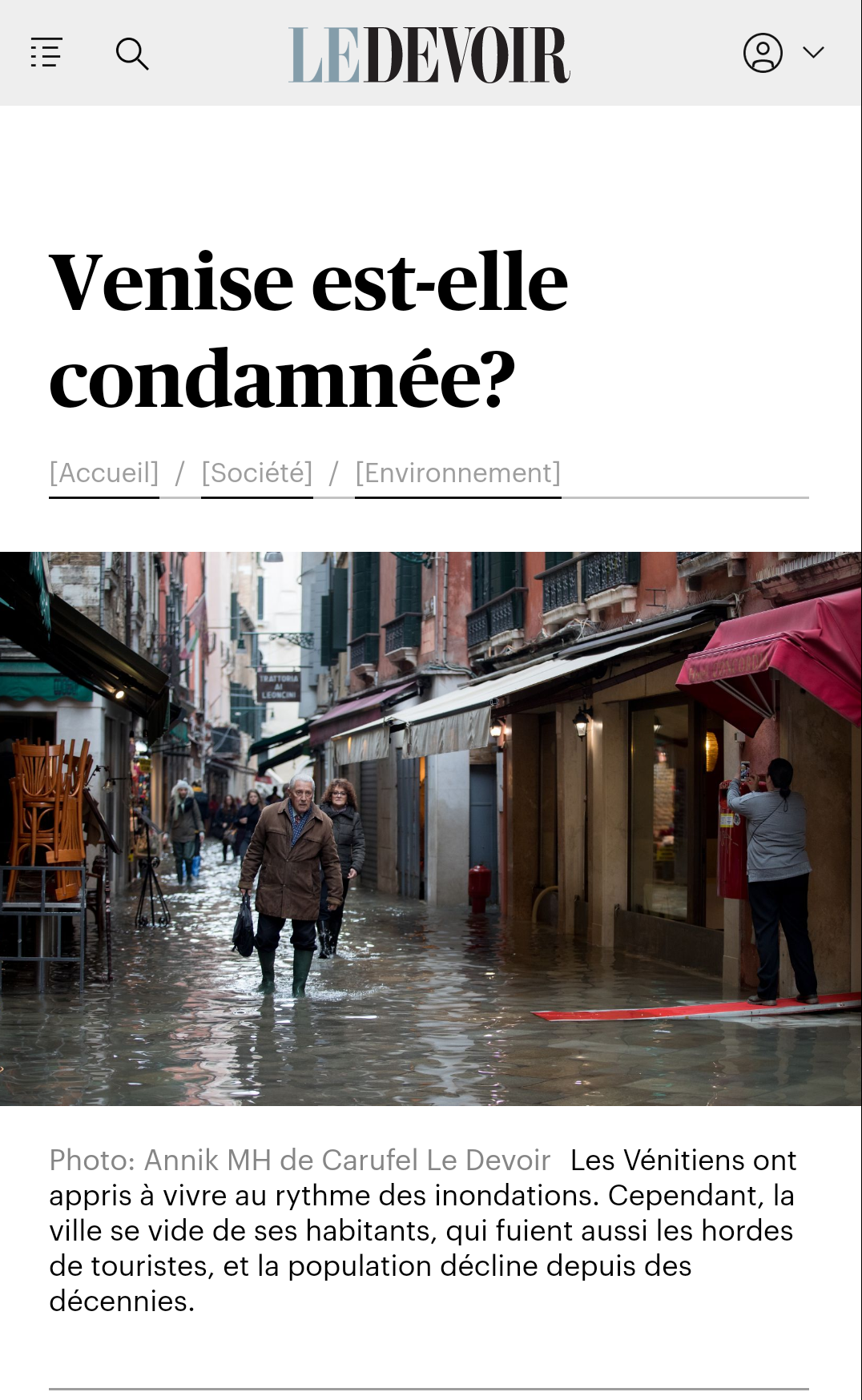 "Le Devoir 30.11.2019: ""Is Venice Doomed?"""