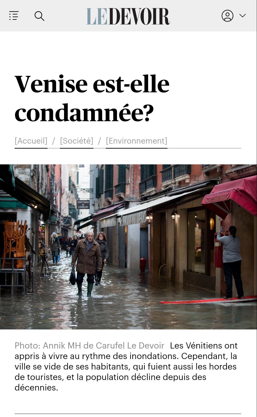 "Le Devoir 30.11.2019: ""Is Venice Doomed?"""