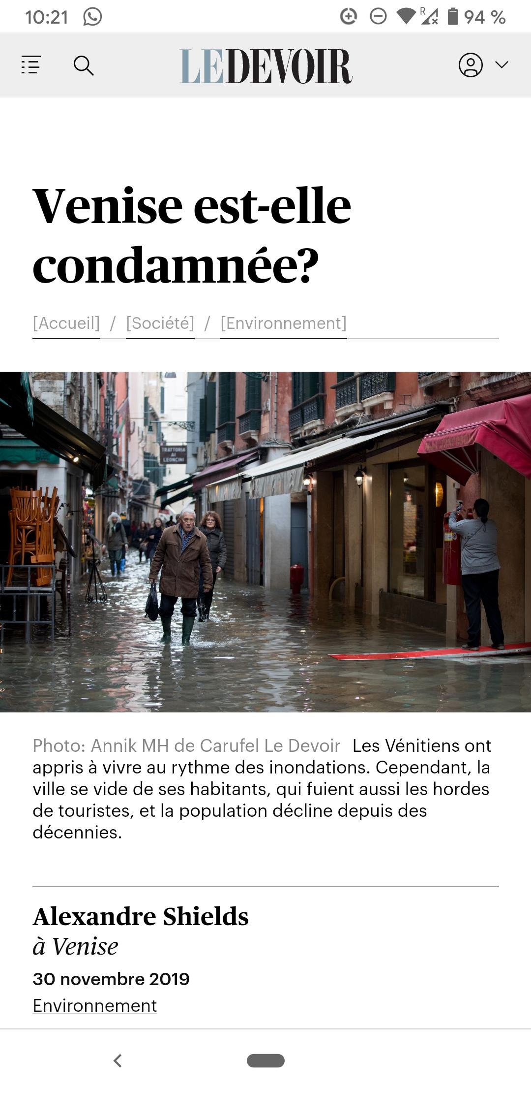 Le Devoir 30.11.2019: Venezia: Destinata A Scomparire?