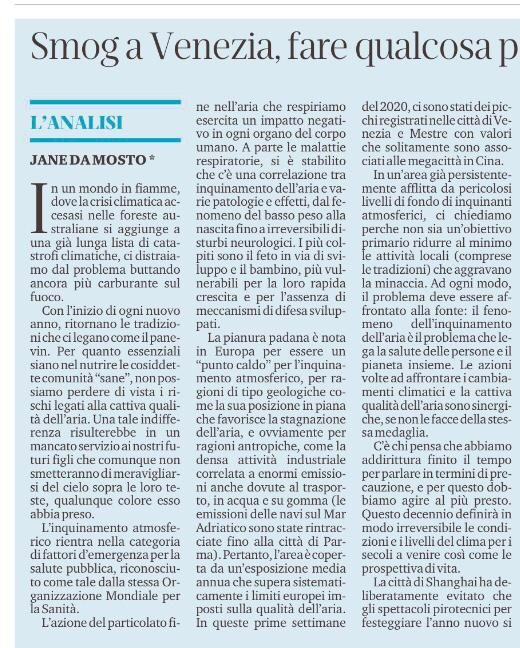 "La Nuova Venezia 14.1.20: ""Smog In Venice: Something Must Be Done To Limit Water Traffic"""