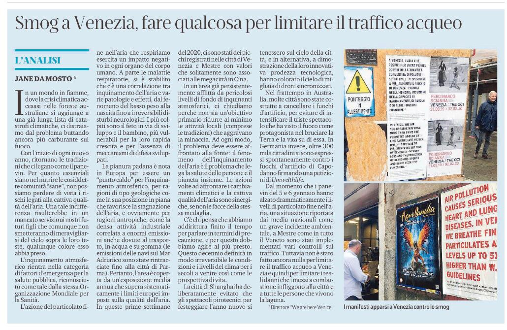 """La Nuova Venezia 14.01.20: """"Smog A Venezia, Fare Qualcosa Per Limitare Il Traffico Acqueo"""""""