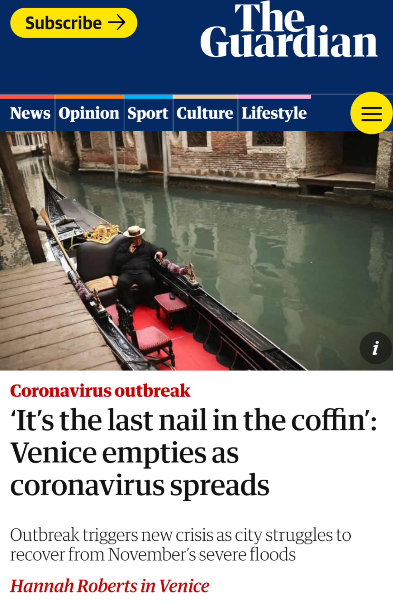 The Guardian 29.02.2020: 'It's The Last Nail In The Coffin': Venice Empties As Coronavirus Spreads